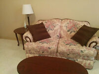 Elegant Couch with Coffee Table + 2 End Tables