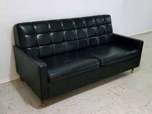 Vintage Retro Mid Century Black Leather Hide-a-bed Sofa Couch