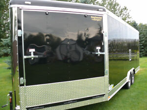 enclosed car hauler trailer-side by-cargo-snowmobile-2017-25ft