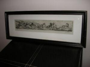 """Original Etching by Mariken van Nimwegen, Vancouver(14"""" x 5""""/sig"""