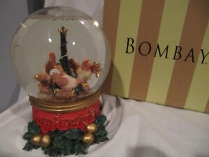 Three collectible musical Christmas snow globes by Bombay Co.