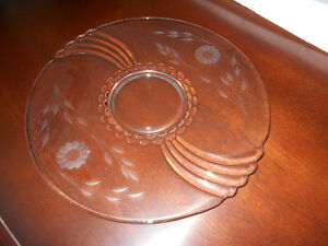 W.J. Hughes Cornflower Glass Platter / Hostess Plate
