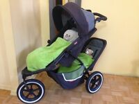 Double stroller Phil&Teds Dash+rain cover+second seat+bag+cups h