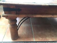 Dark Indian hardwood table. 40cm tall, 90cm wide 135cm long.