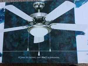 White ceiling fan for sale. New in box.