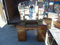 Antique Vanity with Tri-fold Mirror and Matching Dresser