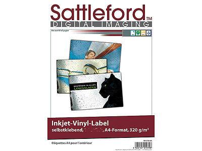Sattleford Klebefolien A4 Tintenstrahldrucker Inkjet Sticker drucken weiß Venyl ()