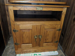 """Solid Oak """"ice box"""" TV stand"""