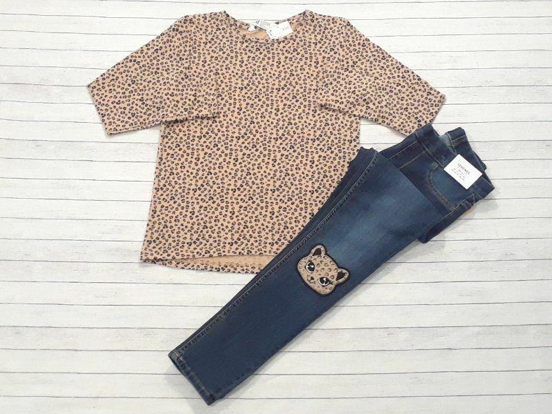 NWT H&M girls size 7-8 leopard knee denim leggings jeggings long sleeve top -B7