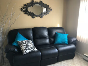 Black Leather Couch with Reclining Seats
