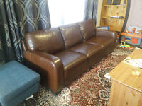 Dark Brown Bonded Leather Couch