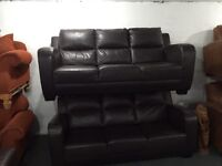 As new 2 brown leather 3 seater sofas