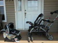 Sit and Stand stroller with car seat