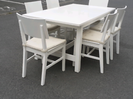 White Extendable Dining Table and 6 Chairs