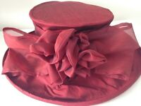 Hand made raw silk hat in red