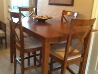 Pub table and four chairs