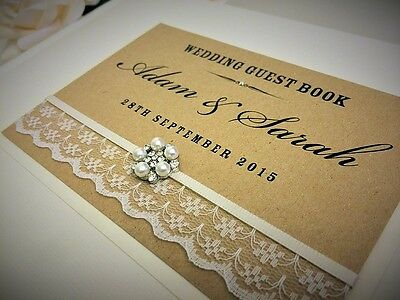 PERSONALISED IVORY VINTAGE STYLE WEDDING ENGAGEMENT GUEST BOOK WITH LACE