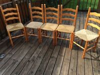 Wooden wicker based chairs
