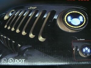 "7"" LED projector headlights with angel eyes (halo) and signals"
