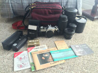 Canon AE-1 35mm Film Camera+3 Lens+Flash+Power Winder+ More