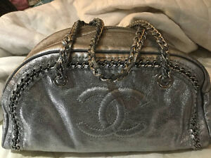 Authentic Chanel silver bowler bag with cards from purchase