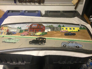 VINTAGE HAND PAINTED OLD FORD CARS ON REAR TRUCK WINDOW BEAUTY