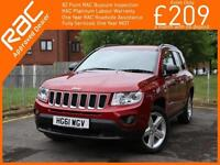 2012 Jeep Compass 2.4 Limited Ltd Auto 4x4 4WD Sat Nav Bluetooth Full Leather He