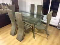 Designer dining table and 6 chairs--ONLY £400--delivery available!!!