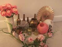 Party wedding decorations, glass bottles, paper lanterns, fans, flowers