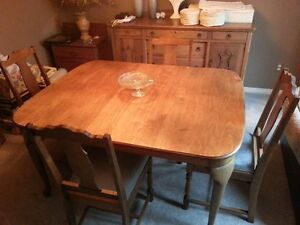 TABLE AND CHAIRS - BEAUTIFUL - SOLID WALNUT