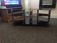Black glass large TV stand