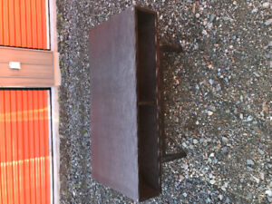 IKEA brown coffee table with glass top and 2 ikea black end tabl