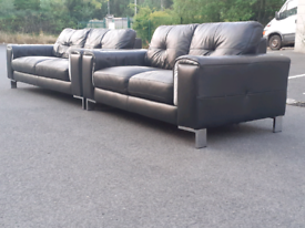 Modern Black Leather 2&3 Seater Sofas