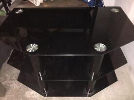 Tv unit black polished glass