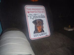 This property is pawtected by Rottweiler security tin sign