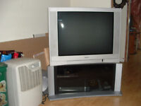 """38"""" TV with glass front base unit"""