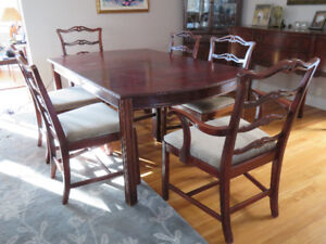 Dining room table, chairs buffet and corner cabinet
