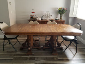 Solid wood table and buffet surver set