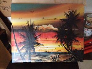 Tableau plage peinture palmiers