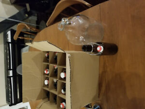 12 x 500ml glass bottles with flip tops and 1 gallon glass jug