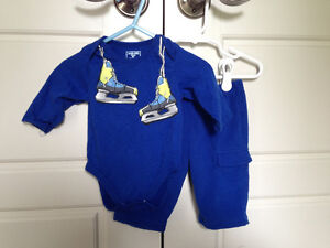Childrens Place 2pc boys hockey outfit, size 3-6mos $2