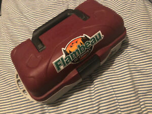 Flambeau outdoors tackle box with tackle