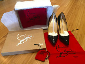 Louboutin Pigalle Plato 120mm - Black Patent Leather - Size 37.5