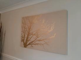 Golden tree canvas wall art