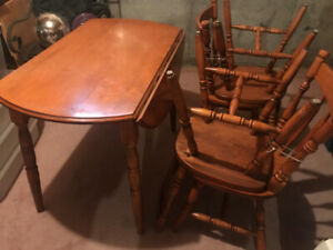 Solid maple drop leaf table with chairs