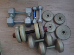 Dumbbells, barbells and weights - Take all for $55 today