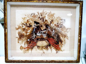 1868 RELIGIOUS SHADOWBOX coral crab SCRIPTURE Psalms OCEANchurch