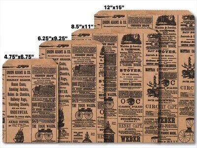 Flat Paper Bags (NEWSPRINT KRAFT Design Flat Paper Merchandise Bags Choose Size & Package)