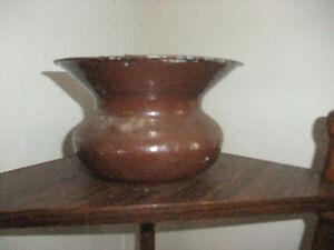 Antique Cast Iron Enamel Spittoon