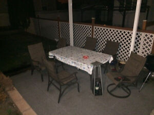 Outdoor patio Table and 6 chairs and umbrella